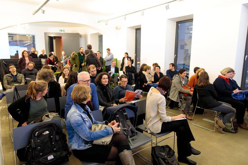 Publikum des 1. IBA-Talks bei der IG Architektur